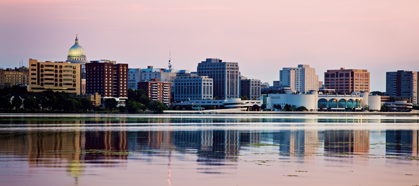 City of Madison skyline over Lake Monona